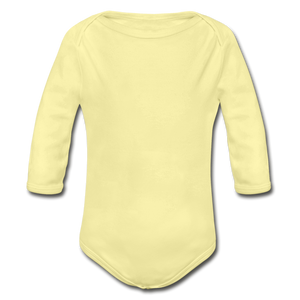 Organic Long Sleeve Baby Bodysuit - washed yellow