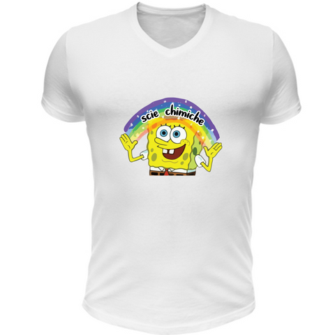 T-Shirt Scollo V SpongeBob Imagination Scie Chimiche