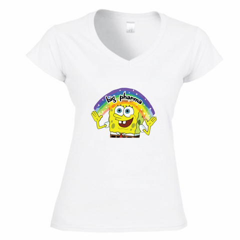 T-Shirt Donna Scollo V SpongeBob Imagination Big Pharma