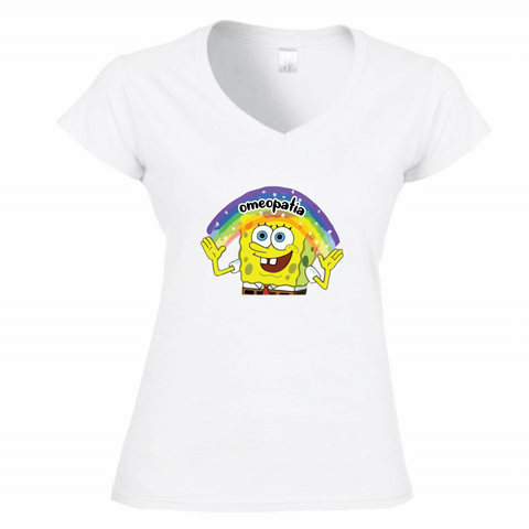 T-Shirt Donna Scollo V SpongeBob Imagination Omeopatia