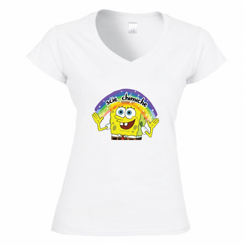 T-Shirt Donna Scollo V SpongeBob Imagination Scie Chimiche