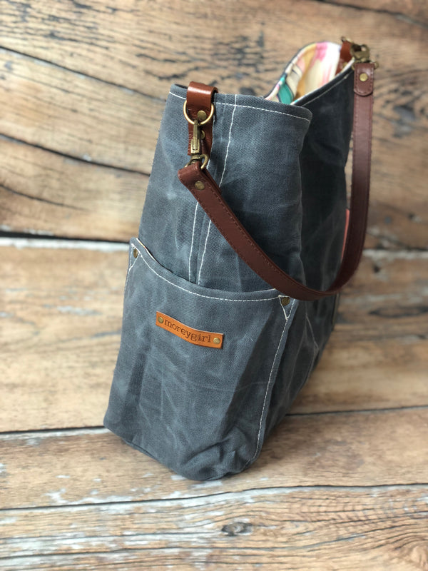 {Design Your Own} Graphite (Dark) Gray compass tote