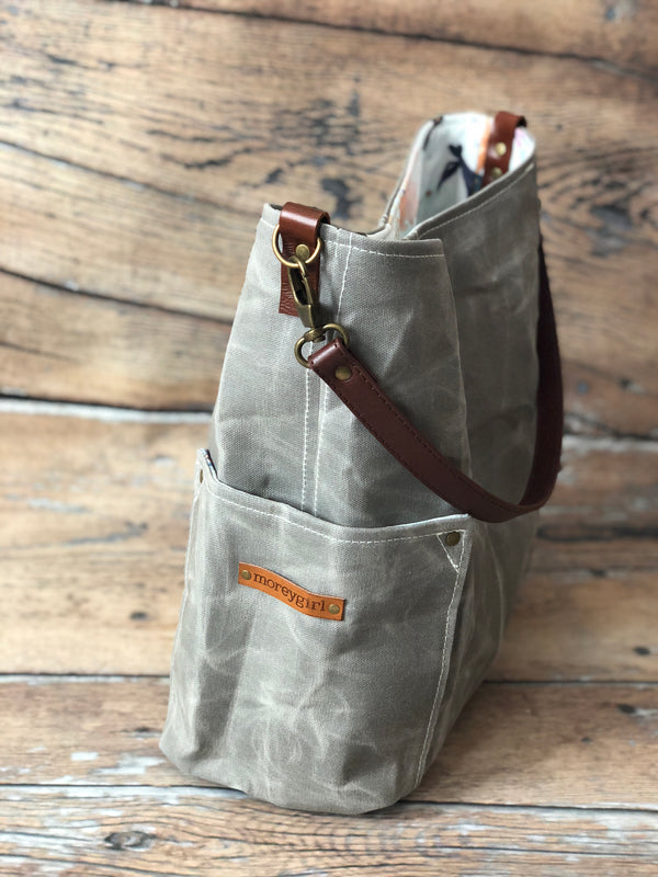 {Ready To Ship} Fog gray compass tote