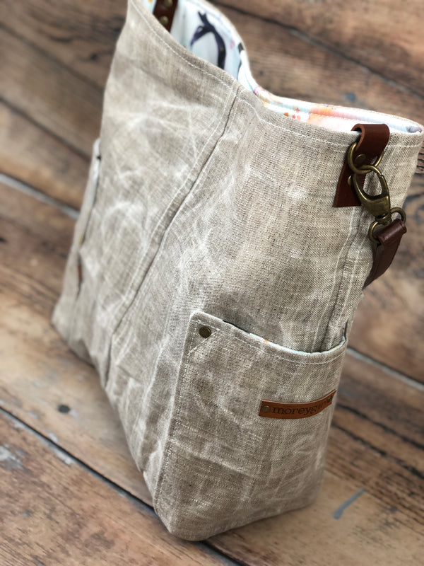 {Ready To Ship} Linen compass tote