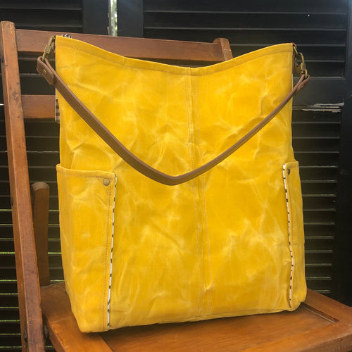 Mustard Yellow Compass Large Tote