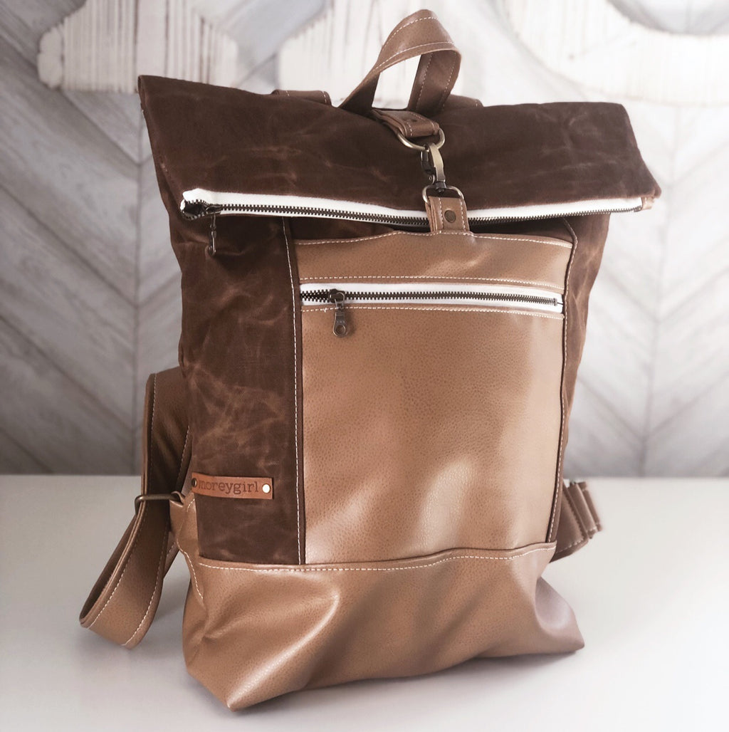 Toffee waxed canvas backpack
