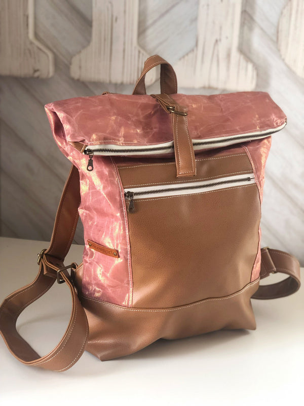 Rose gold waxed canvas backpack