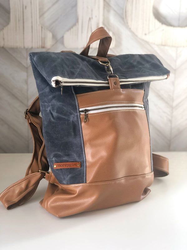 Graphite waxed canvas backpack
