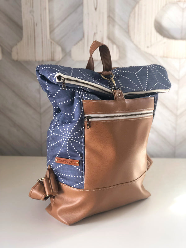 Blue star canvas backpack