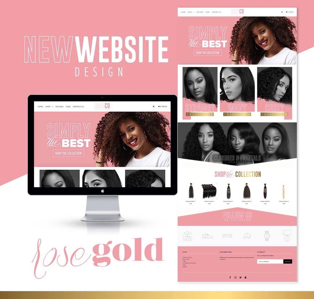 SHOPIFY Pink, White,  & Gold Website $499 + $99.99 one-time Sign up fee