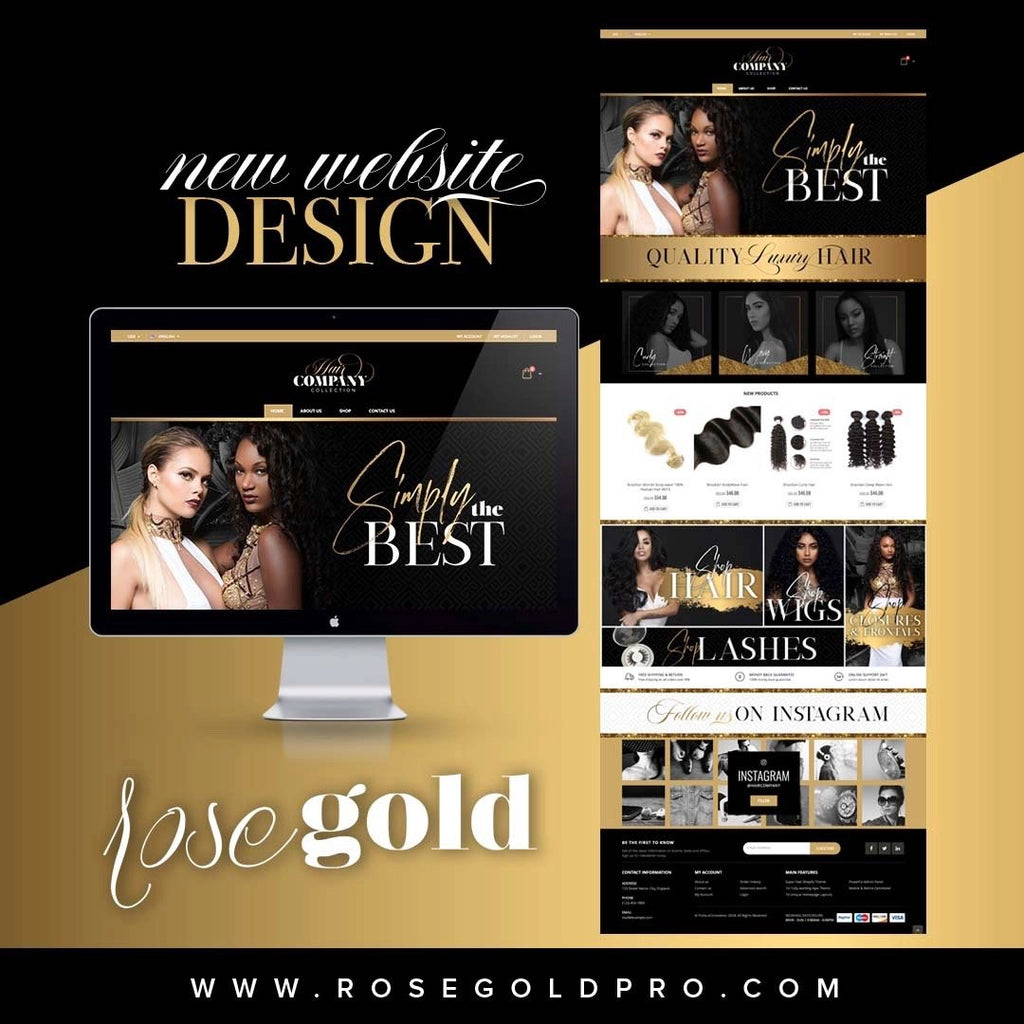 SHOPIFY Black & Gold Website $499 + $99.99 one-time Sign up fee