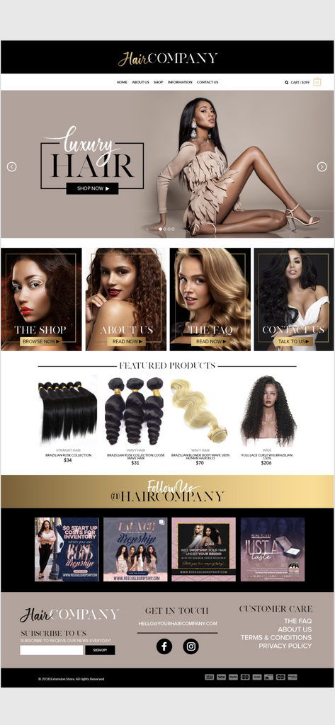 SHOPIFY Tan & Gold Website $499 + $99.99 one-time Sign up fee