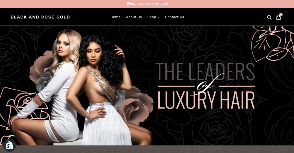 SHOPIFY Black & Rose Gold Website $499 + $99.99 one-time Sign up fee