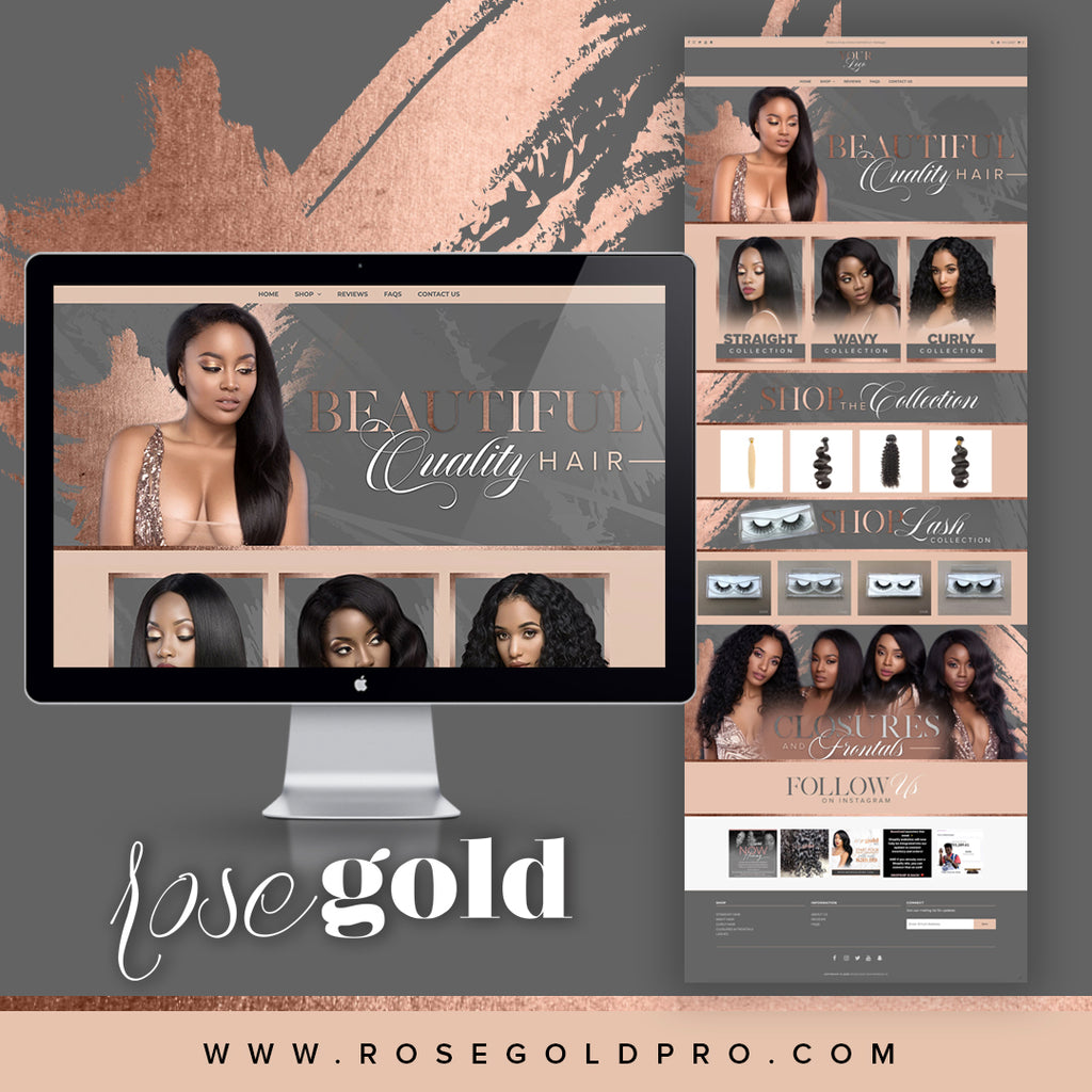 SHOPIFY Gray/RoseGold Website $499 + $99.99 one-time Sign up fee