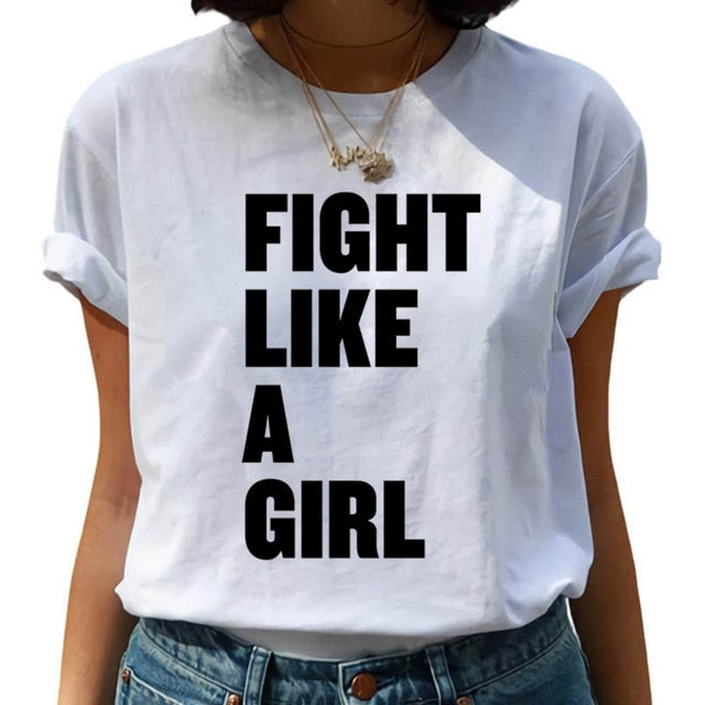 Feminist Harajuku 90s Graphic T Shirt Women Feminism Fight Like A Girl Cartoon T-shirt Girl Power Tshirt Ullzang Top Tees Female