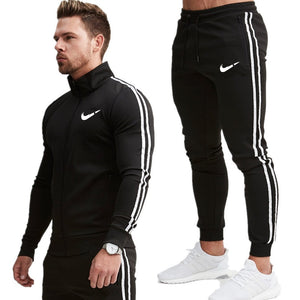 chinorus - 2019 New fashion Print Men Sport Set Spring Tracksuit long Sleeve Hoodie Sweatshirt GYM Fitness Pants Workout Running Suit - Chinorus -