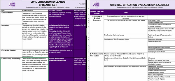 Syllabus Spreadsheet Bundle (Civil and Criminal Litigation) - SHOP BATB