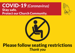 Seating Restrictions Sign Pack of 100 non-laminated