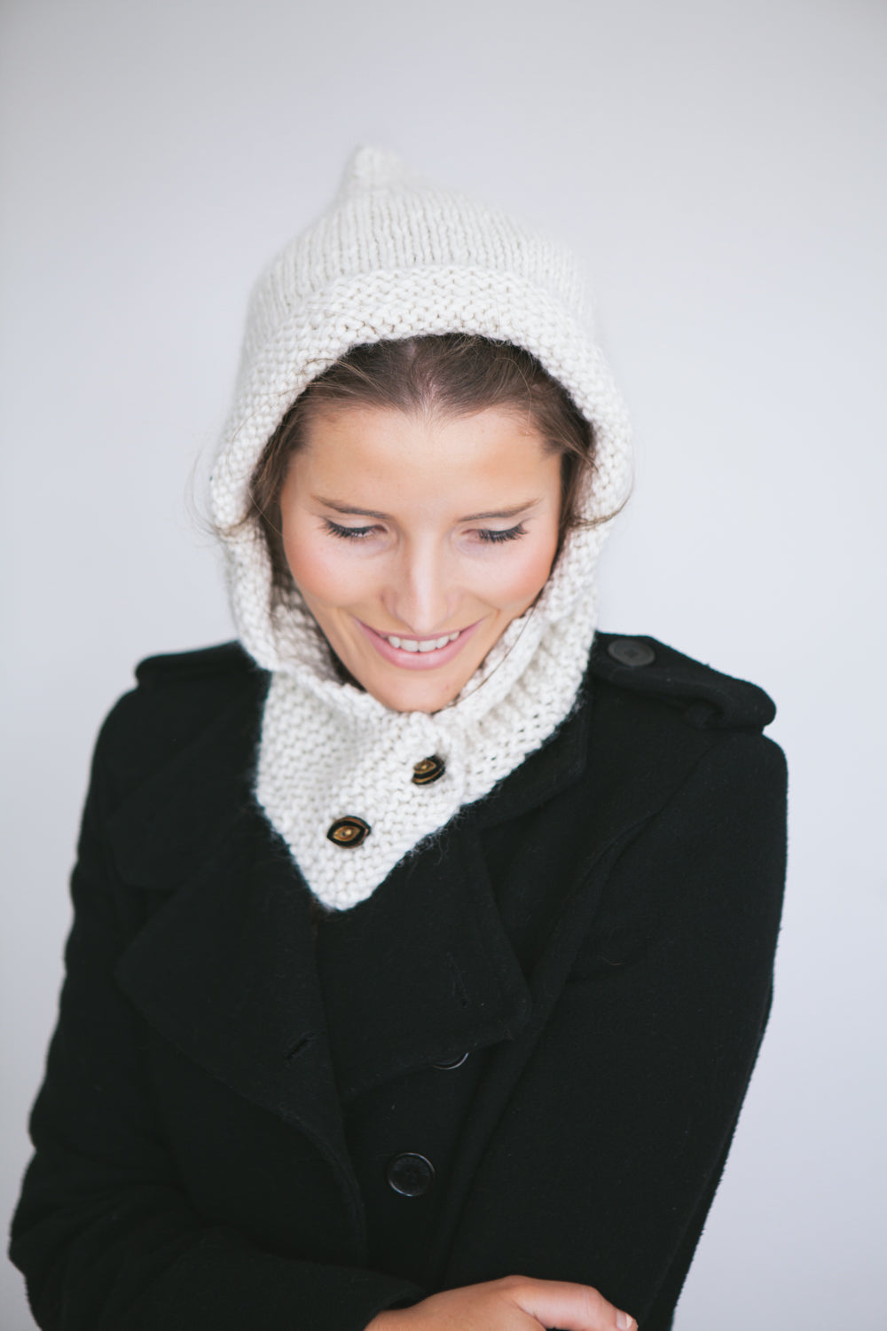 Chunky Hood Knitting Pattern with Buttons