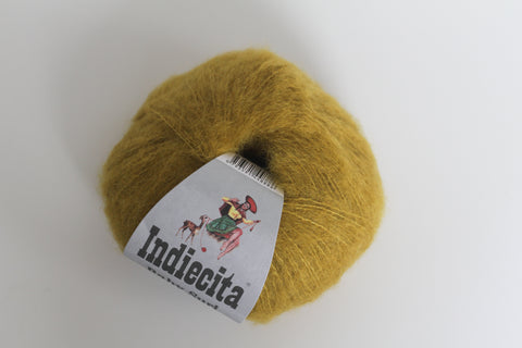 Alpaca Suri Silk Handpaints 4 Ply Wool Equivalent - Mustard