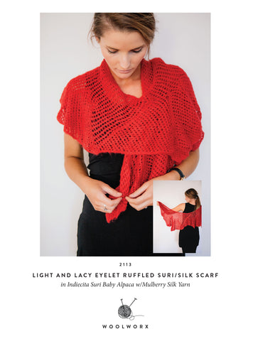 FREE knitting pattern download eyelet scarf 2113 - Alpaca Suri Silk