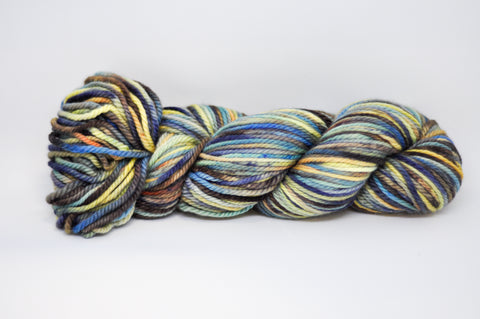 Koigu Hand Paint Chelsea Aran weight 10 Ply Blue/Brown/Yellow