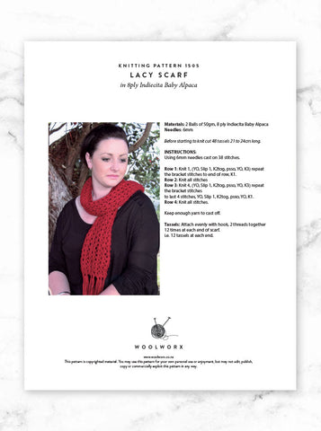 FREE Lacy Scarf knitting pattern download 1505