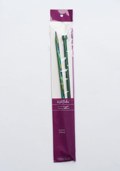 Caspian Wooden 10 inch Straight Knitting Needles 3.5mm to 12mm