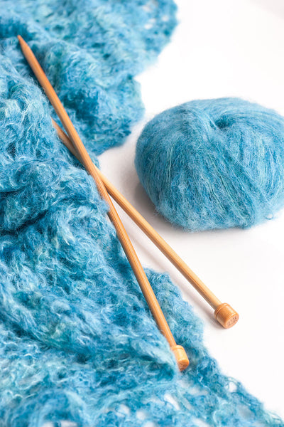 Alpaca Suri Silk Handpaints 4 Ply Wool Equivalent - Aqua/Blue