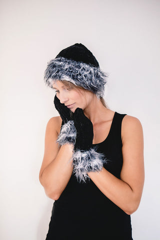 FREE knitting pattern W1024 Fun Fur Trim Hat and Mittens - Fantasia and Merino Star