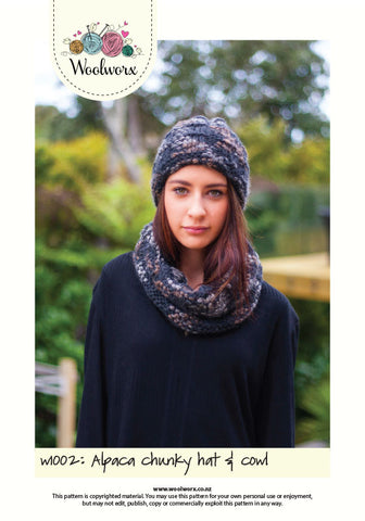 W1002 Knitting pattern - Hat and cowl