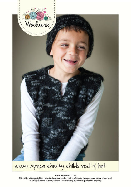 W1004 Knitting pattern - Child's hat and vest
