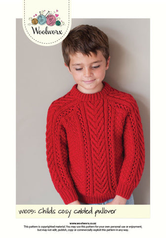 W1005 Knitting pattern - Childs cosy cabled pullover