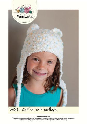W1012 Knitting pattern - Cute cat hat with ear flaps