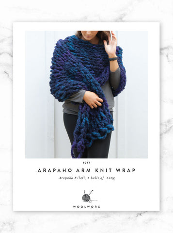 FREE knitting pattern download Arm Knit Wrap - Arapaho
