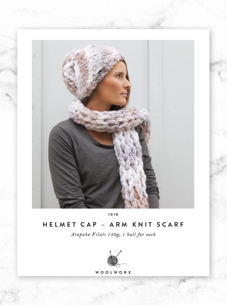 4058ef7488e5 FREE Arm knitting pattern download - Arapaho Hat and Arm Knit Scarf –  Woolworx