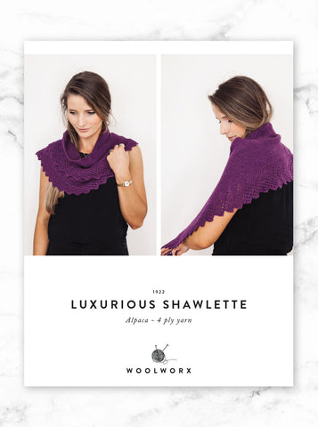 FREE knitting pattern download 4ply shawlette 1922 - Alpaca