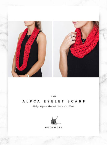 FREE knitting pattern download Eyelet Scarf 2512 - Alpaca Chunky