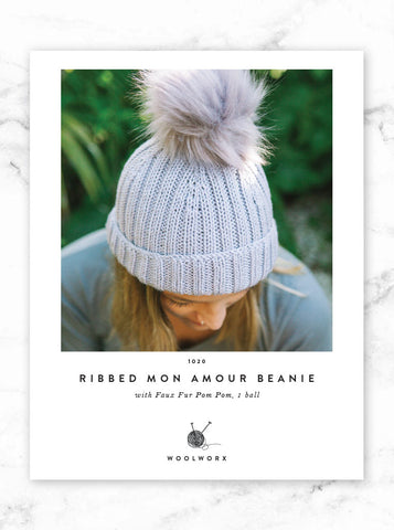 FREE Beanie knitting pattern download 1020 - Ribbed Mon Armour