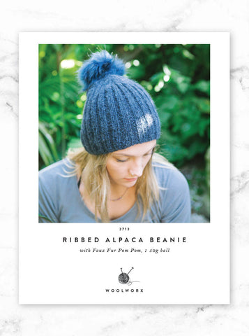 FREE Beanie knitting pattern download 2713 - Ribbed Alpaca