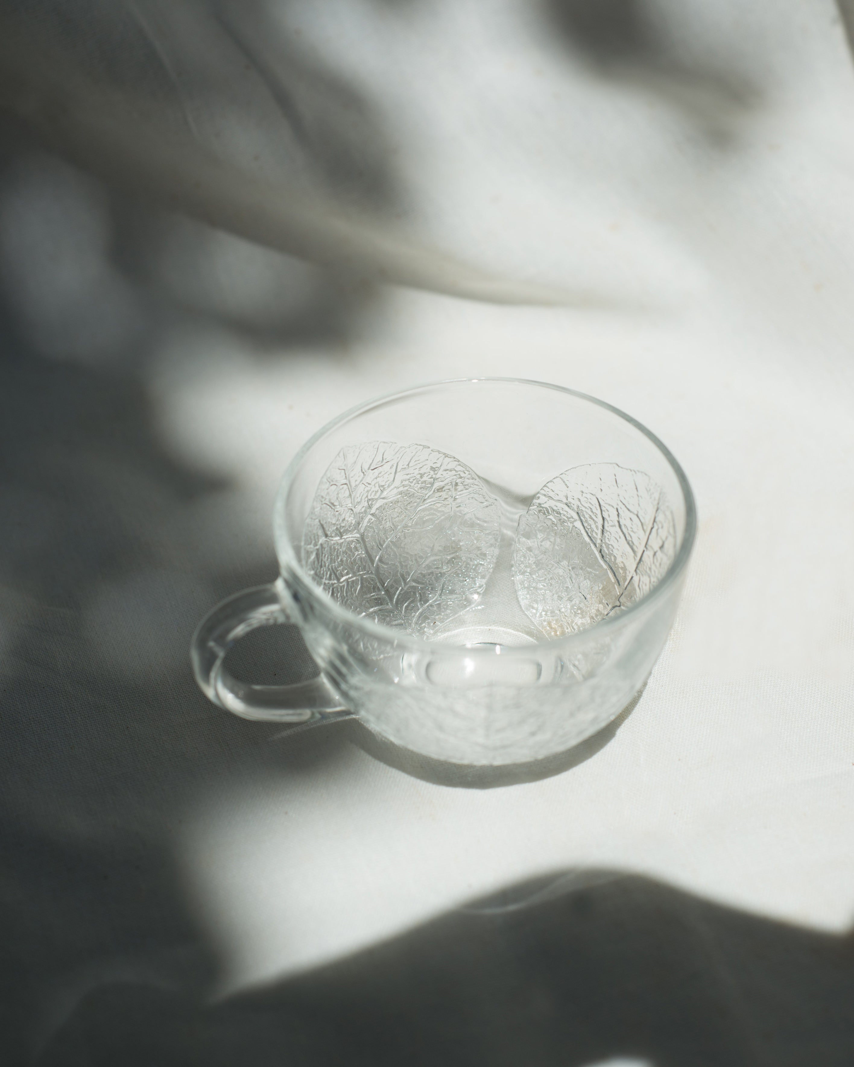 Glass Cup with Embossed Leaves