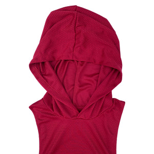 NOIX Red Mens Muscle Hoodie Top Sleeveless
