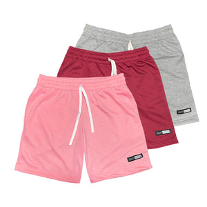 NOIX Pink, Maroon, and Light Grey Walk Shorts BUNDLE