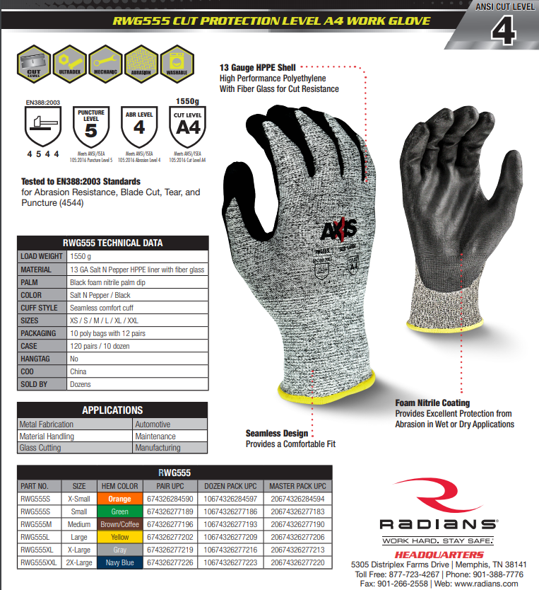 RWG555 - Cut Protection Level A4 Work Glove