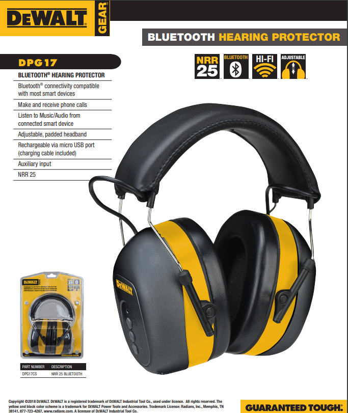 Dewalt Hearing Protection Bluetooth Headphones