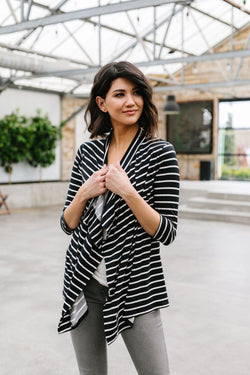 Escape To Nowhere Cardigan In Black w/ White Stripes