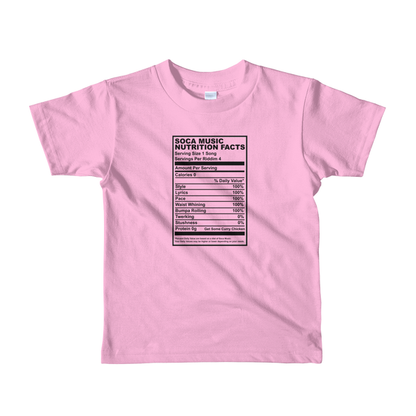 Soca Music Nutrition Facts kids t-shirt