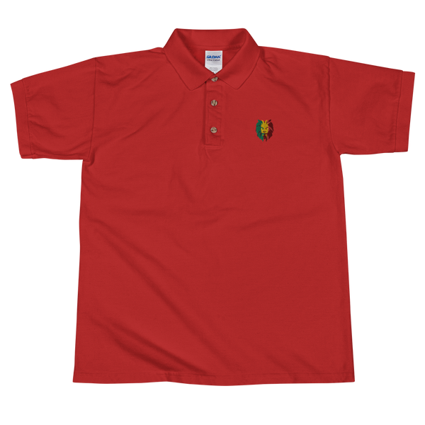 Lion Head Embroidered Polo Shirt