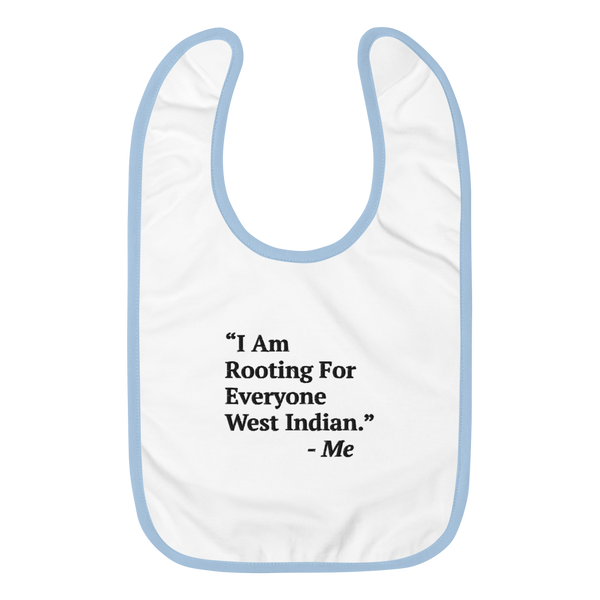 I Am Rooting: West Indian Embroidered Baby Bib