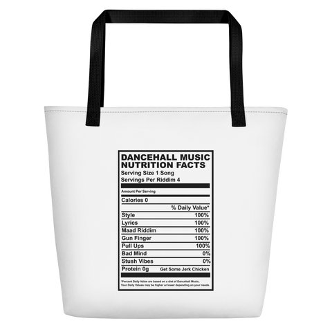 Dancehall Music Nutrition Facts Beach Bag
